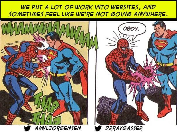Spiderman fighting Superman